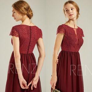Chiffon Cap Sleeves Lace Long A-Line Dress